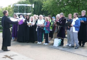choir in Hyde Abbey Garden on Olympic Torch day