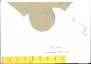 Template for recycled stone in chimney in loft area