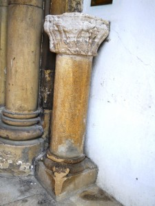 Shaft with damaged capital and moulded base with spur ornamentation
