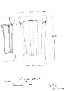 Dimensioned sketch, voussoir. The dimension indicate an arch spanning a 19 feet wide doorway