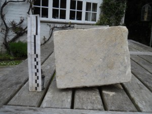 Ashlar from Hyde Abbey wall foundations H900-49-3 Featuring original medieval mortar?
