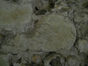 """""""Whistle"""" stone reused in tower at bell level"""