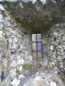 Window on N facing wall of Almoner's Hall,  seen from what was the inside of the building.
