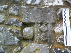 A piece of stone from Quarr (IOW) showing attractive ball and diamond moulding