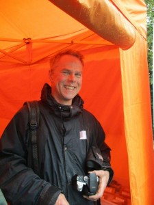 Hugh Greasley still smiling at the end of his digging stint. in the rain