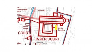 Local area test pits.   The plan shows the position of the test pits site in Alswitha Terrace. The most probable outline of the demolished church of Hyde Abbey is superimposed on the current street pal in red.