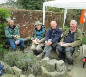 L-R David Spurling of Hyde900 with WARG supervisors Steve Taylor, Chris Sellen and Techer Jones find time for lunch