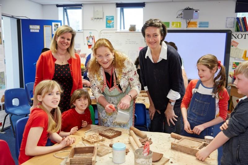 St Bede's pupils  busy at work tile-making