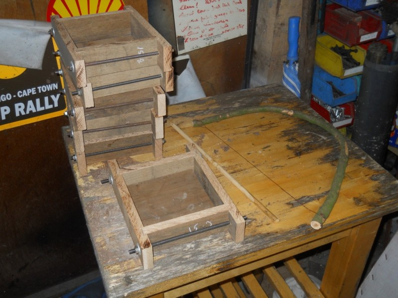 Frames for tile making and bow cutter under construction
