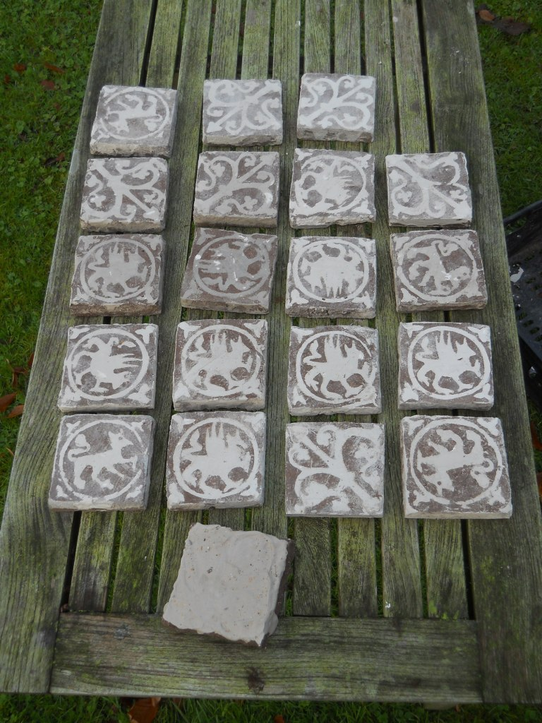 Tiles produced at the tile workshops drying out. One with slip not yet removd