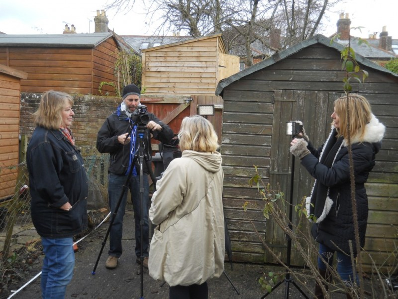 Hyde900 trustee Rose Burns (left) interviewing householder Justine Field with Southampton Video Camera Club members Howard Blake and Karen wielding the equipment