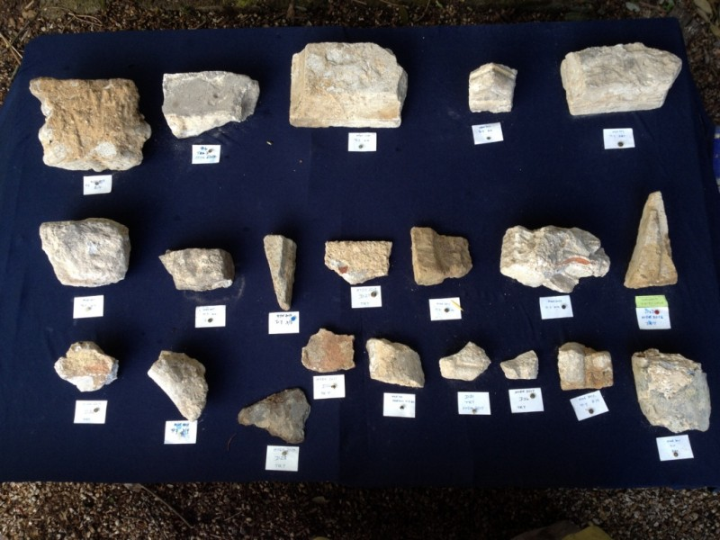 A voussoir (top left) yet to be cleaned of the bedding mortar and a rich selection of other finds from the adjacent layer to the voussoirs - including fragments of abacus (top row)