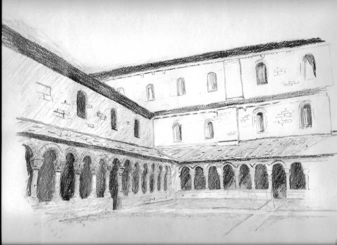 Artist's impression by Ross Lovett of Hyde Abbey cloisters
